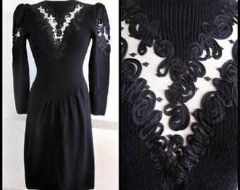 Lillie Rubin Dress / fits S-M / Vintage Lillie Rubin Dress / 70s Lillie Rubin Dress / Lillie Rubin Knit Dress / Santana Knit Dress