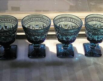Vintage Wine/Cocktail Glasses|Set of 4|Indiana Glass Company|Parklane Pattern|Blue Glasses|Wine Glasses|Cocktail Glasses|Made in USA