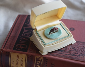 Antique Deco Celluloid Ring Box, Engagement Ring Box, TLC faux ivory celluloid Ring Box, Jewelry Gift for Her, Wedding Ring Proposal Box