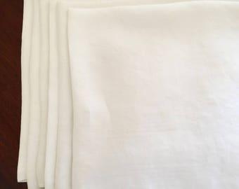 Damask Napkins, Set of 6 Large White Damask Napkins, 20 Inch Napkins, Wedding Bridal Gift, French Country, Cottage Farmhouse Table Linens
