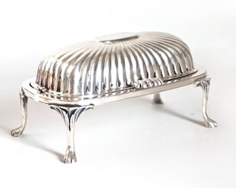 Vintage Roll Top Silverplate Butter Dish, English Silver MFG Co Butter Holder with Flip Lid, Made in USA