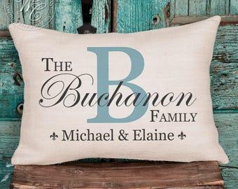 wedding gift, monogram pillow, burlap pillow, personalized pillow, personalized wedding gift, monogrammed pillow, last name est pillow
