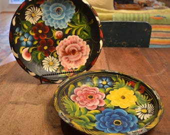 Vintage Mexican hand carved hand painted wooden Batea plates rustic boho