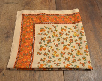 """Vintage 70s orange floral polyester neck scarf kerchief made in Italy retro 26"""" square"""