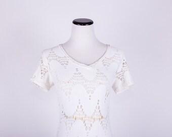 70's Boho White Cut Out / Crochet-Style / Body Con Maxi Dress