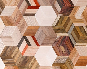 Natural Wood Tile deco Wall Self Adhesive Sticky Thin hexagon 3D solid DIY