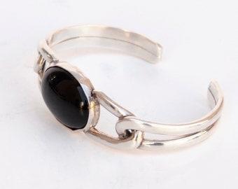 Sterling Silver Onyx Cuff Bracelet Modern