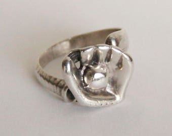 Baseball Bat Ball and Glove sterling silver hand made ring - size 11.5