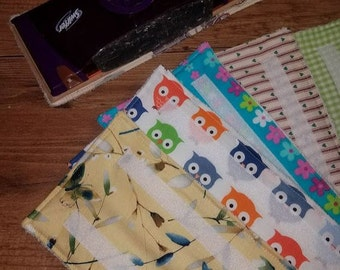 5 Washable & Reusable pads for Swiffer-type Wet Jet mops - Assorted prints