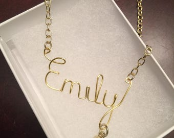 Personalized name necklace with BIRTHSTONE, wire name necklace, cursive name necklace, gold necklace