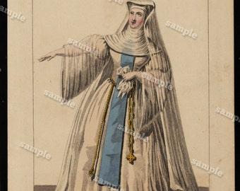 Theatrical hand colored costume Engraving by Malewore Aaron & Hautecoeur Decorative art original art 19th century Rarest Find