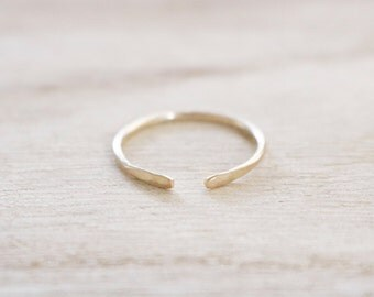 Open edge ring, gold open edge ring, adjustable stacking ring, hammered ring, gold ring, gold filled ring, gold fill ring, gold dainty ring