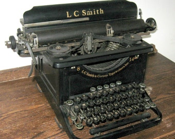 Vintage L.C. Smith & Corona Manual Typewriter, Model 8 14, Black, 1920's to 1930's