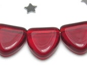 Dark Siam Ruby Red Triangle Drop Pennant Flag Bead 9mm - Czech Pressed Glass - Transparent Glass - 25 beads - Blood Red, Red Hot, Crimson