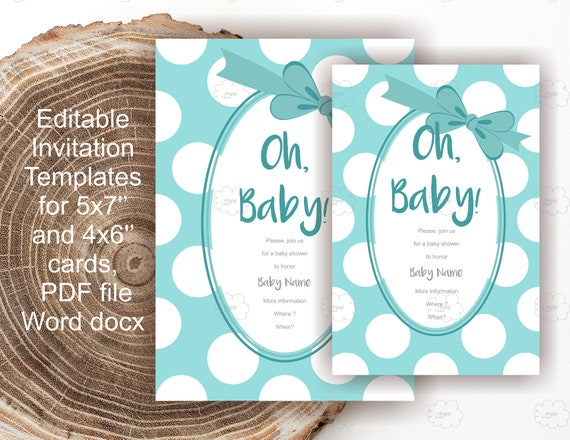 blue baby shower invites edit text yourself polka dot invitation blue diy invitation. Black Bedroom Furniture Sets. Home Design Ideas