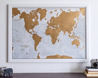 Scratch the World ® - scratch off places you travel map print! - gift for him, gift for her, travel gift, gift, wall hanging, home decor