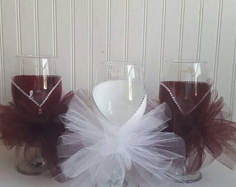 Wedding glass hand painted wine glass with tutu  skirt wedding party glasses bridal shower bridesmaid gift bachelorette tulle skirt burgandy