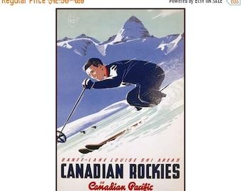 Lake Louise Banff Canadian Rockies Ski Area Vintage Poster Print Retro Style Travel Mountain Winter Skiing Free US Post