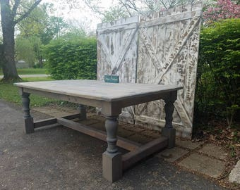 New England Farmhouse Rustic TABLE Breadboard Ends Massive Turned Legs  Reclaimed Wood Weathered Gray Custom Sizes