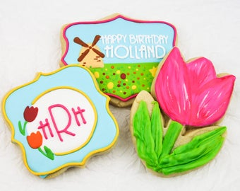 Spring Tulips and Windmill Monogram Cookies