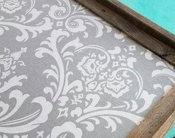 barn wood framed bulletin board grey damask pattern rustic wedding pin board kitchen cork board office
