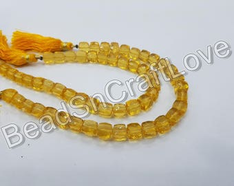 Citrine Quartz Hydro 3D cube or Box shape Faceted  Beads, approx 7 mm, 12 pieces   AAA quality