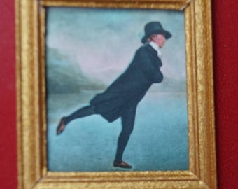 "Dollhouse Framed Stamp, ""Rev. Robert Walker Skating"""