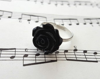 Black rose ring - small flower on adjustable silver base vintage style