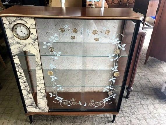 Art Deco display cabinet with clock mid century