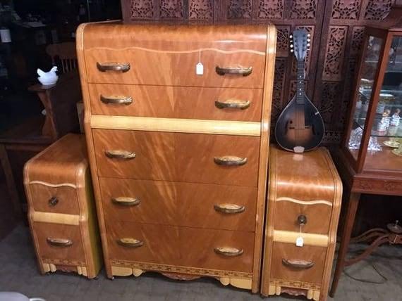 Art Deco Dresser and matching nightstands