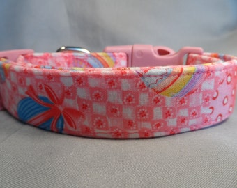 Easter Dog Collar Easter Eggs on Red and Pink Check