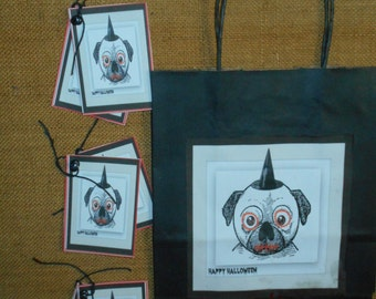 Hand Made Zombie Dog Paper Gift Bags