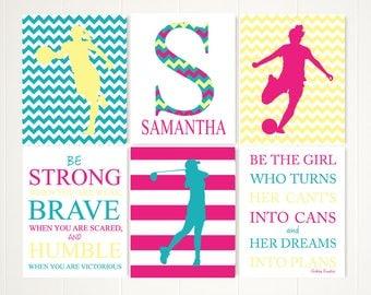 Gift for kids, girls room decor, sports art, basketball art, basketball gift, golf gift, soccer art, golf artwork, inspirational quote