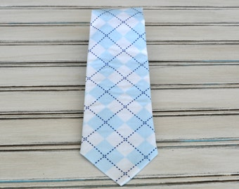 blue Argyle Tie for Men, Youth, Boys