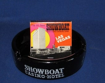 SHOWBOAT CASINO and Hotel Souvenir Ashtray and Matchbook Las Vegas