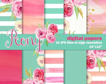 Watercolor Digital Papers. Mint Pink and Gold. 10 Peony Inspired Digital Watercolor papers. Hand Painted Stripes