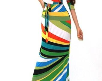 Spring Maxi Dress,Geometric Maxi Dress,Spring Formal Dress, Multi-Color Maxi, Wrap Maxi,Wrap Style Maxi,Gift for Her, Geometric Long Dress