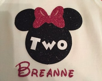 Glitter mini mouse shirt with name
