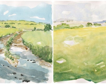 LOT two original watercolors Lancashire countryside landscape english art english sountryside decor original wall painting landscape yellow