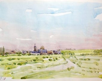 Normandy landscape Ardevon original watercolor painting countryside normandy decor wall home france decor original wall france normandie art