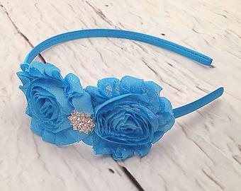 Turquoise Shabby Chic Headband, Aqua Blue Headband, Flower Headband, Girl Headband, Adult Headband,
