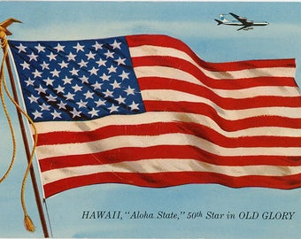 Hawaii Aloha State 50th Star in Old Glory American Flag Vintage Postcard 1960