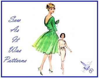 "1960s Butterick 9924 Cowl Neckline Evening Formal Dress Flared Chiffon or Sheath Skirt Belt Tie Vintage Sewing Pattern Size 14 Bust 34"""