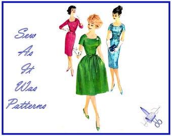 "1950s Simplicity 3222 Sheath Flared Dresses Round Neckline Cummerbund Raglan Long Short Sleeves Vintage Sewing Pattern Size 12 Bust 32"" 83cm"
