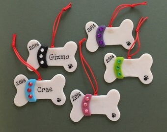 Fused Glass Personalized Dog Bone Ornaments