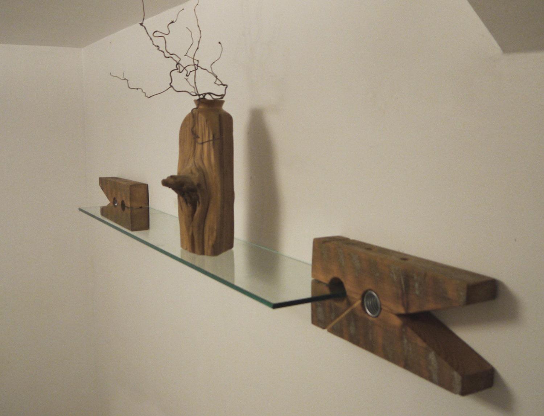 Reclaimed Wood Brackets. Glass Wall Shelf. Unique Furniture.