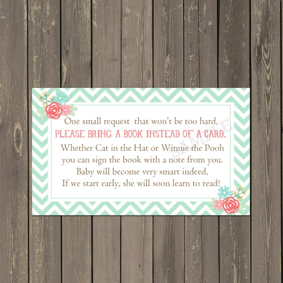Mint Green Book Request Insert, Floral Books For Baby Card