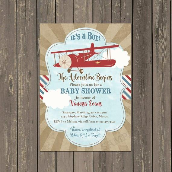 Vintage Airplane Birthday Party Airplane Baby Shower: Airplane Baby Shower Invitations Vintage Plane Shower