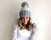 SALE Knitted Hat Pom Pom Slouchy Grey Wheat- Chesapeake Hat