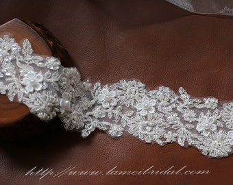 Heavily Beaded Wedding Sash Bridal Belt Accented with Shiny French Lace and Dazzling Glass Pearls